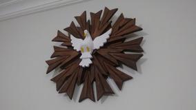 Religiosos Divino Espírito Santo Madeira Com Resplendor 50cm