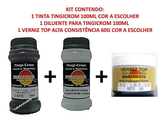 Kit Tinta P/ Couro 100ml + 100ml Dil. + Verniz 60g D Oficial