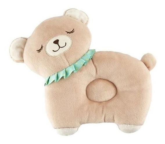 Almofada Travesseiro Bicho De Pelúcia Ursinho Soninho Infantil Ergonômico Proteção Sono Do Bebê Urso Decorativa Bege