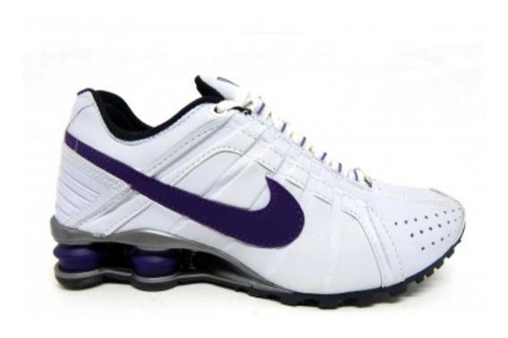 Tênis Nike Shox Júnior Branco Roxo Original Tam.34