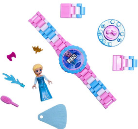 Relógio Digital Infantil Lego Frozen + Boneco Elsa Ou Ana