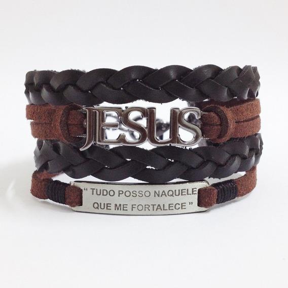 Pulseira Bracelete Masculina Couro Jesus Tudo Posso Naquele