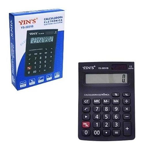 Calculadora Eletrônica Yins 12 Digitos Display Grande Ys-3851b