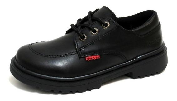 Zapatos Niños Escolares Kickers Con Cordon 35/38 Kero