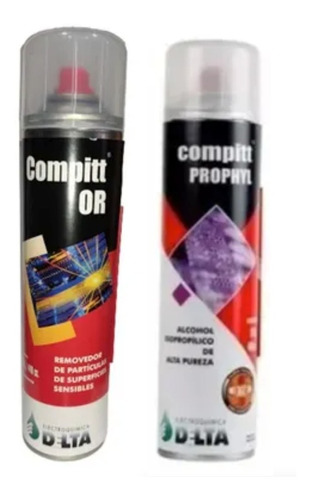 Imagen 1 de 7 de Aire Comprimido 450g + Alcohol Isopropilico 315g Delta Combo