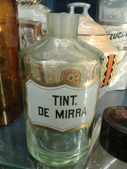 Antiguo Frasco De Farmacia Verde Uranio Tinta De Mirra
