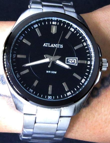 Relógio Submariner Atlântis Prata Aço Inox Original Top C180