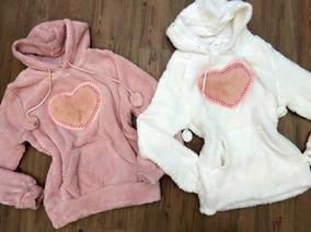 Blusa Casaco Moletom Feminino Coração Pelinho Pérola Inverno