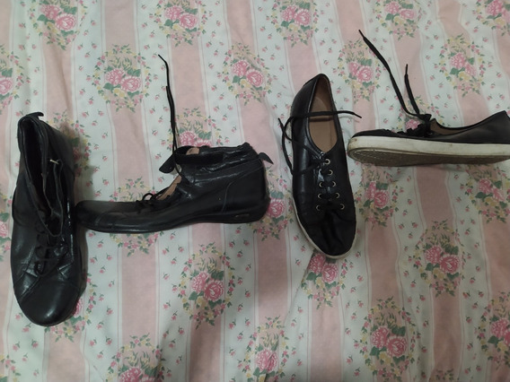 Lote 2 Pares De Zapatillas Negras De Mujer Talle 39