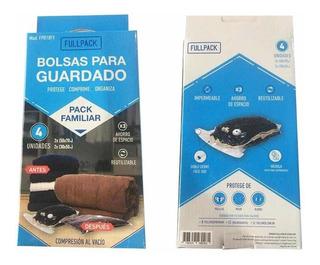 Set 4 Bolsas Guarda Ropa Compresión Vacío 2 Gdes 2 Medianas