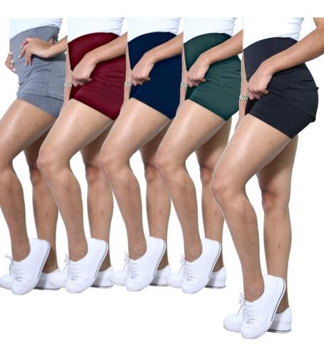 Kit 5 Shorts Saia Heide Leg Basic Academia Blogueiras