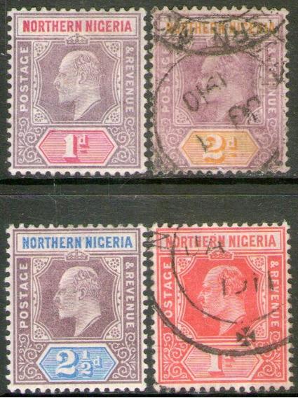 Nigeria Del Norte Serie 4 Sellos Rey Edward 7° Años 1902-10