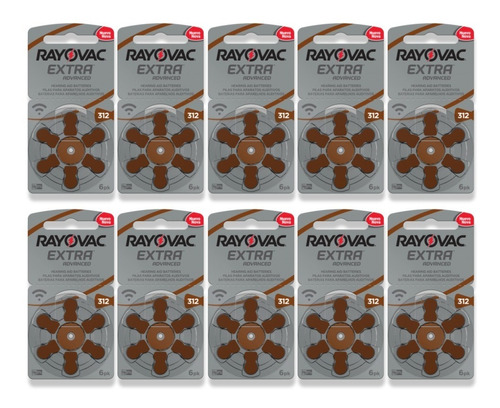 60 Pilhas Baterias Tam 312 Aparelho Auditiva Rayovac