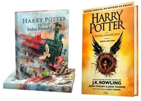 Harry Potter Livro 8 Parte 1 E 2 + Pedra Filosofal Ilustrado