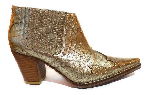 Zapato Mujer Bota Texana Cuero Dorado