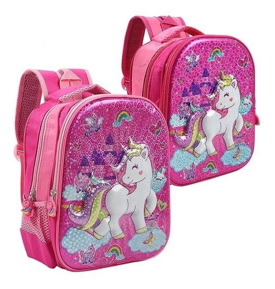 Mochila Nena Infantil Unicornio Jardin