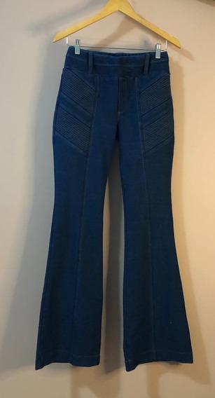 Calça Jeans Flare Com Recortes E Pesponto