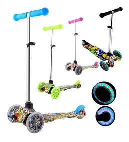 Monopatín Scooter 3 Ruedas Con Luces Reforzado Plegable