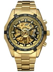 Relógio Dourado Masculino Esqueleton Automático Luxuoso Ouro
