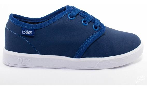 Tênis Infantil Qix Skate Azul Branco Original Envio Imediato