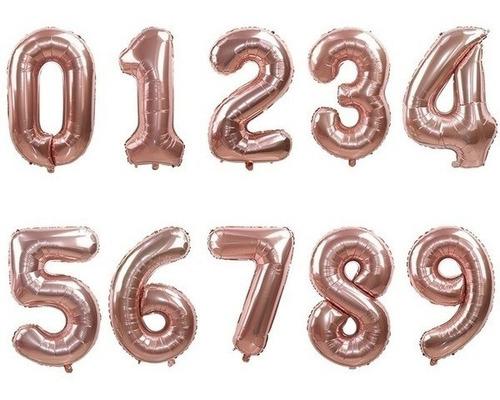 Globo Numero Metalizado 40cm Deco Rosa Gold Feliz Cumpleaños