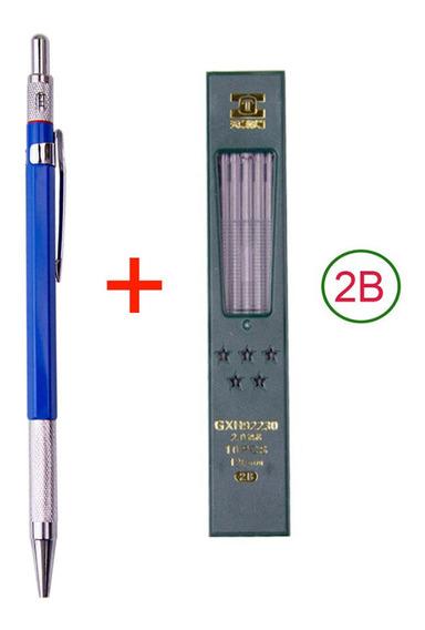 Lapiseira 2.0mm C/ Apontador + Caixa De Minas Grafites 2b