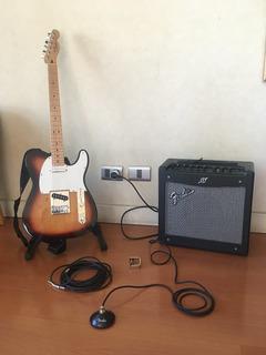 Fender Telcaster Mim Con Amplificador Fender Mustang