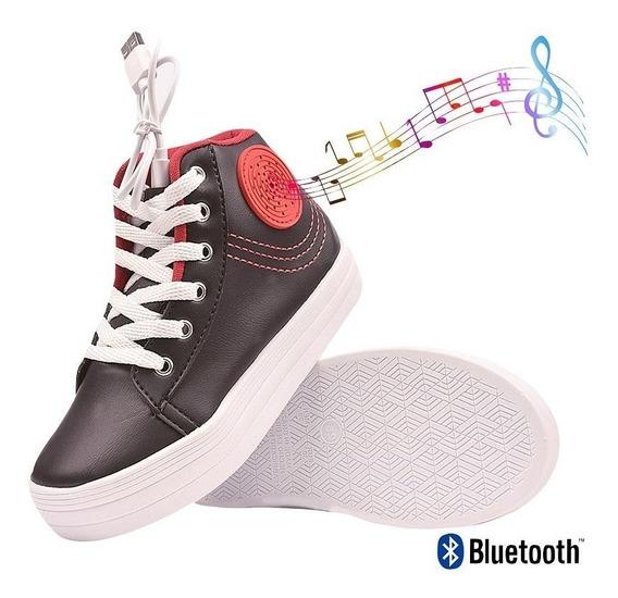 Tênis Musical Infantil Bluetooth Cano Médio Toca Música Usb