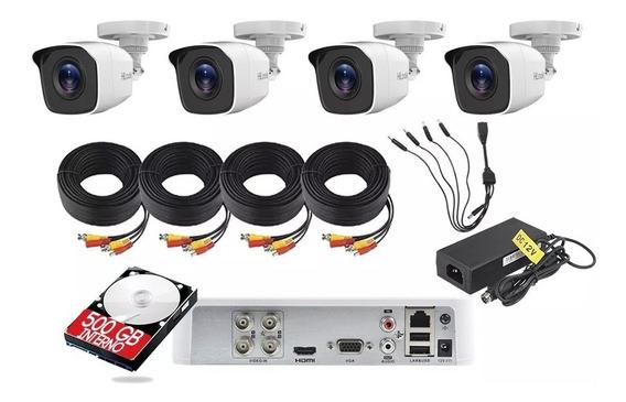 Kit Video Vigilancia Hilook 4 Camaras 1080p 2 Mp 500 Gb