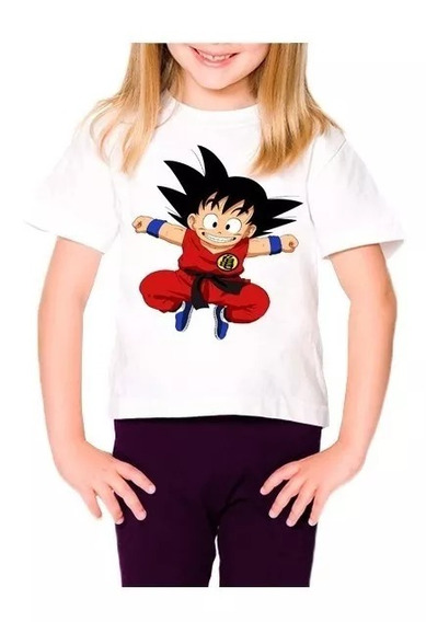 Camisetas Polyeste Infantil Feminina Do Goku Do Dragão Ball