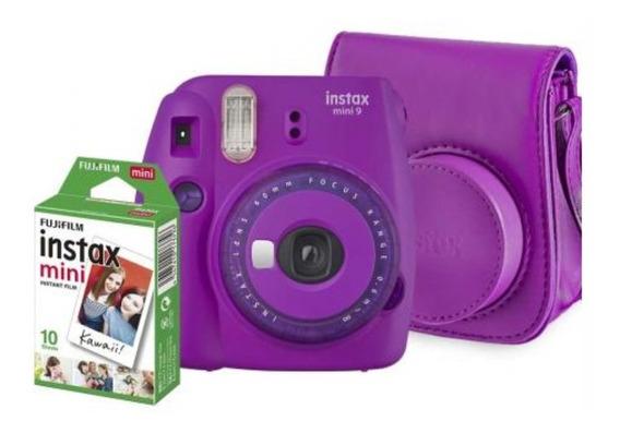 Kit Câmera Instantânea Instax Mini 9 Roxo Açaí + Bolsa + Fts