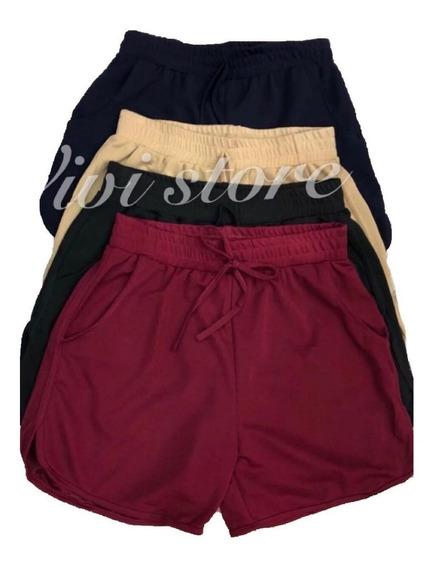 Shorts Feminino Kit5 Malha Estampadas E Lisa Tem Bolsos Top