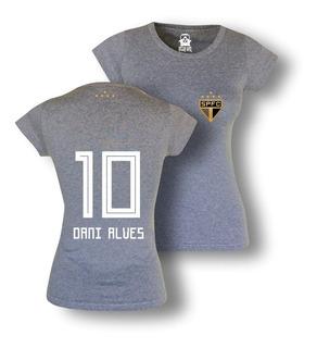 Camisa Feminina São Paulo Daniel Alves Logo Algodão