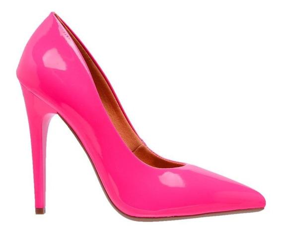Scarpin Neon Feminino Fluorescente Salto Alto Fino Pink