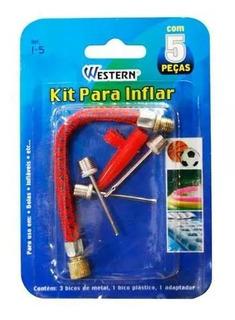 Kit Para Bomba De Inflar Bico Bola Boia 5 Peças Adaptador