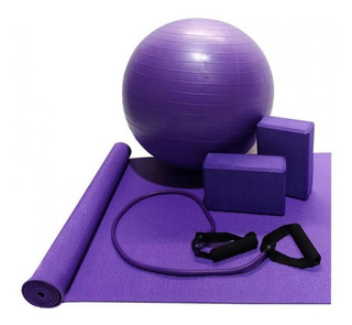 Kit Ginastica Yoga Pilates Fisioterapia Com Tapete E Bola