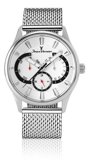 Relógio Jean Vernier Pulso Masculino Pulseira Aço Analógico