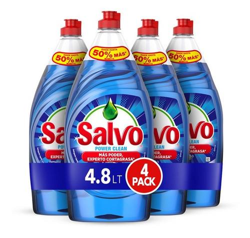 Imagen 1 de 1 de Lavatrastes Salvo Power Clean líquido en botella 4.8L pack x4