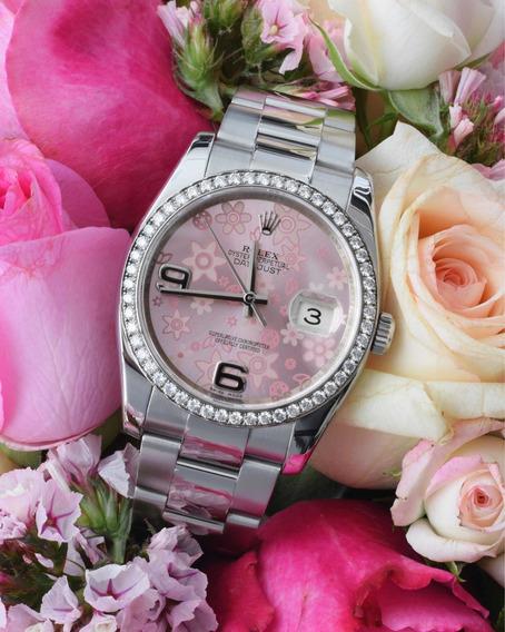 Rolex Datejust 36 Mostrador Pink Floral Bezel De Ouro Branco C/ Diamantes I Relógio Feminino Original