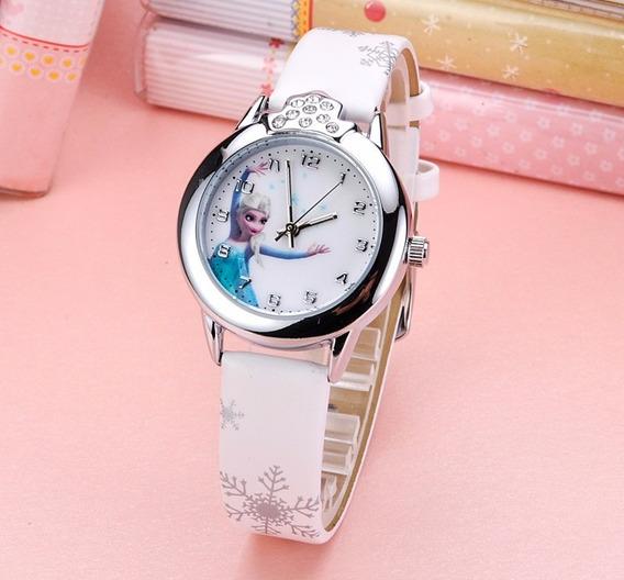 02 Relógio Frozen Princesa Anna E Elsa Moda Menina