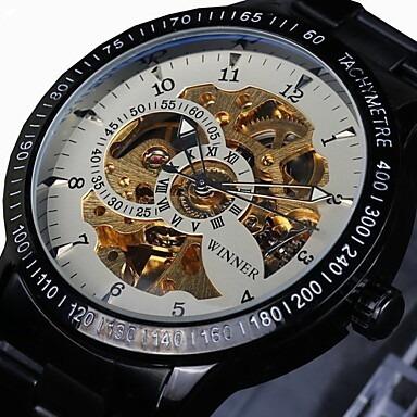 Relógio Winner Automático, Pulseira De Aço, Fundo Branco - E