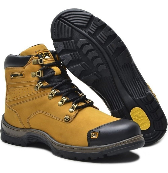 Bota Caterpillar Original Coturno Couro + Chinelo + Kit Full