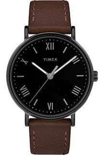 Reloj Timex Tw2r80300 Southview 41mm Correa De Cuero Marrar