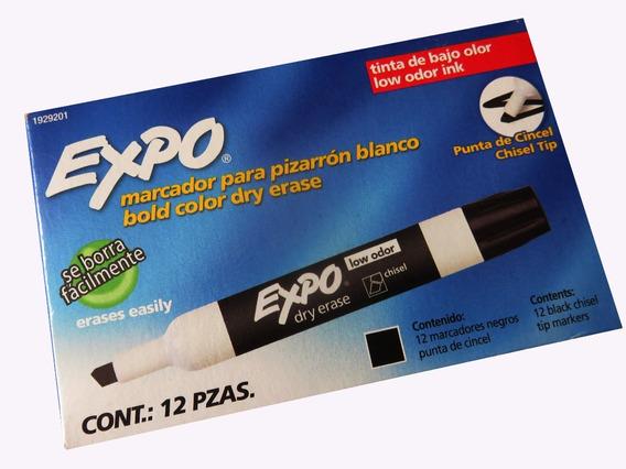 Marcador Para Pizarron Expo Negro Caja Con 12 Piezas