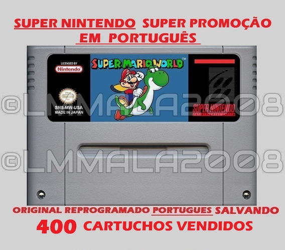 Original Super Mario World Português Snes Sup Nintendo Salva