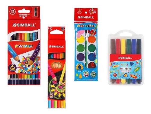 Kit 38 Útiles Simball Lápices Acuarelas Marcadores Crayones