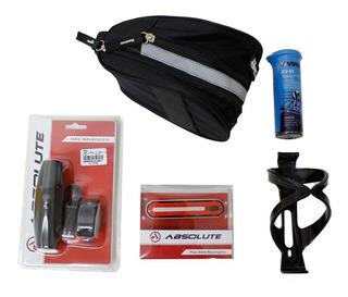 Kit Acessórios Bike Farol+pisca+sup.garrafa+bolsa+remendo