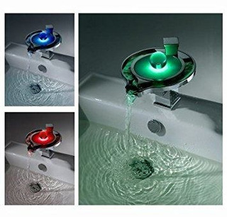 Cascada Color Changing Led Waterfall Bathroom Sink Faucet (u