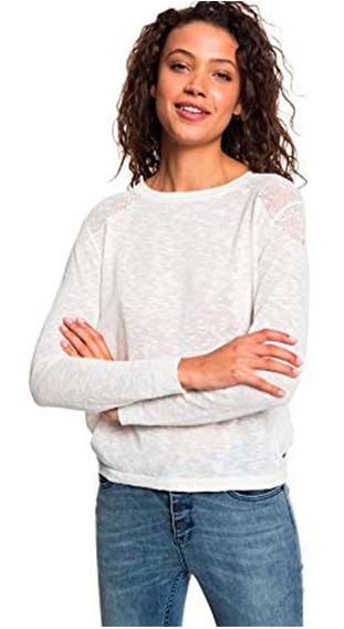 Suéter Dama Escote Espalda Cómodo Ajuste Regular Blanco Roxy