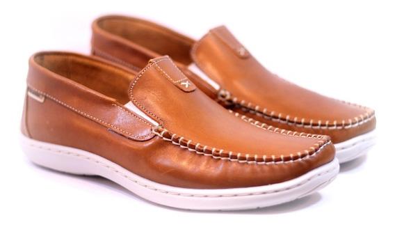 Zapatos Darmaz 273 Mocasines Náuticos Cuero Marrón Azul